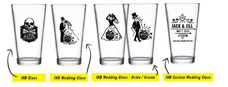 Iron Horse Brewery Wedding Glasses